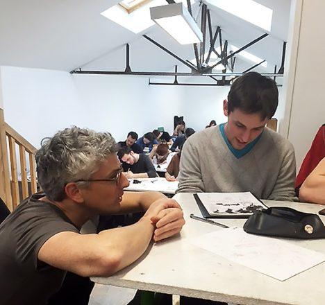 Cyril Pedrosa avec les élèves de l'école de BD Pivaut